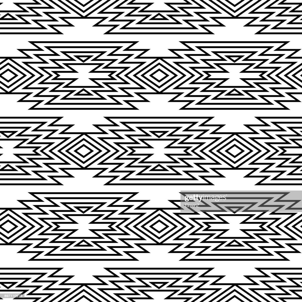 Vector trendy black and white seamless decorative ethnic pattern. Boho geometric style.