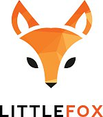 Vector trendy minimalistic red fox head icon in polygonal style