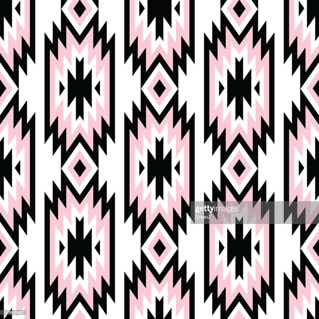 Vector trendy seamless decorative ethnic pattern. Pink and black colors. Boho geometric style.