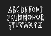 Vector trendy uppercase alphabet in ethnic style made of lines of different thicknesses.