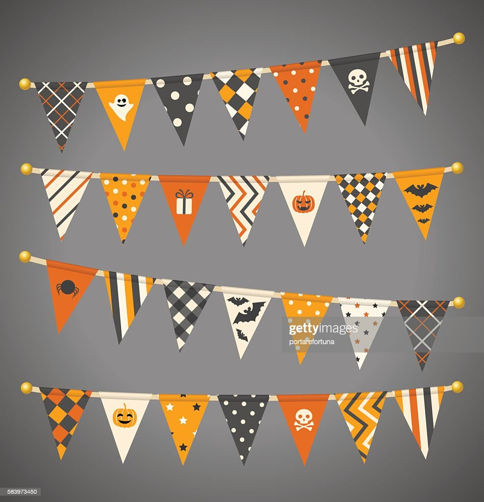 Vector triangle bunting flags. Halloween garland collection.