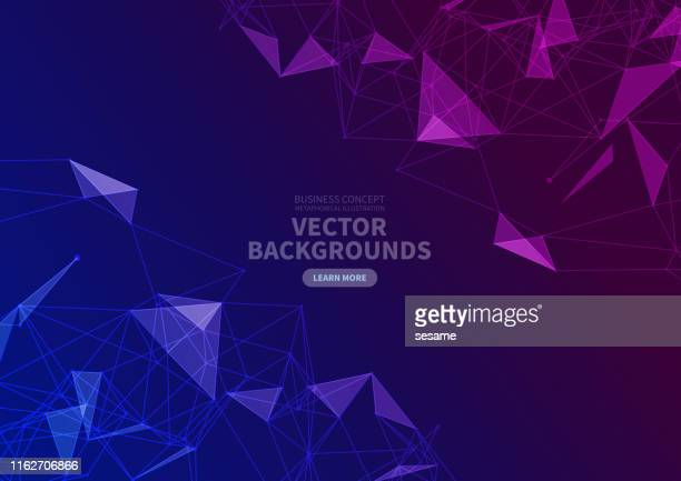 vector triangle face background - purple stock illustrations
