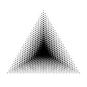 Vector triangle halftone geometric shapes, Dot abstract background. Dotwork Illustration