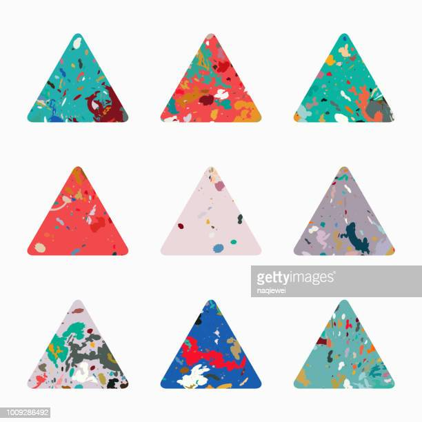 vector triangle pattern icon collection - paisley pattern stock illustrations, clip art, cartoons, & icons