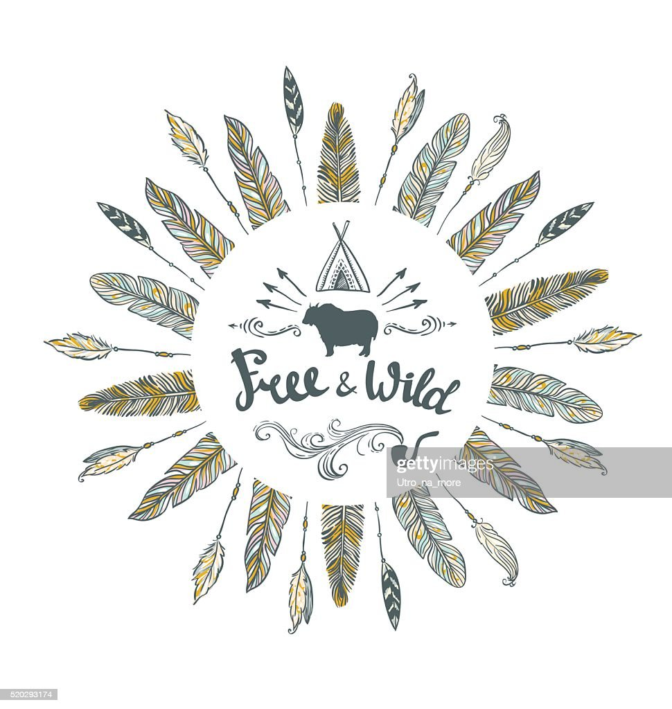 Vector tribal Card with feathers and lettering. Hand drawn illustration