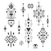 Vector tribal elements, ethnic collection, aztec stile isolated on white
