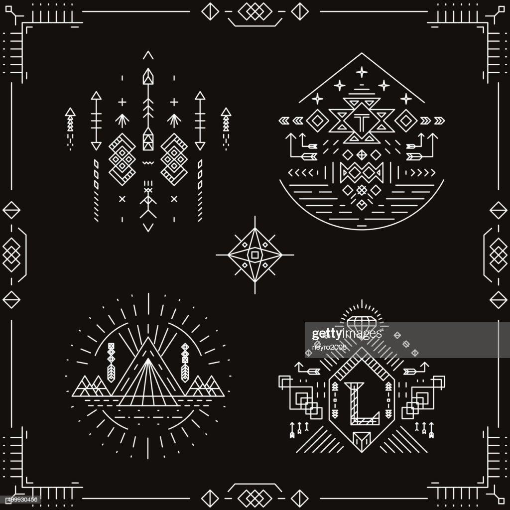 Vector tribal ethnic elements