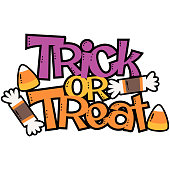 Vector Trick or Treat Candy Halloween Phrase Illustration