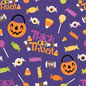 Vector Trick or Treat Candy Seamless Pattern Background