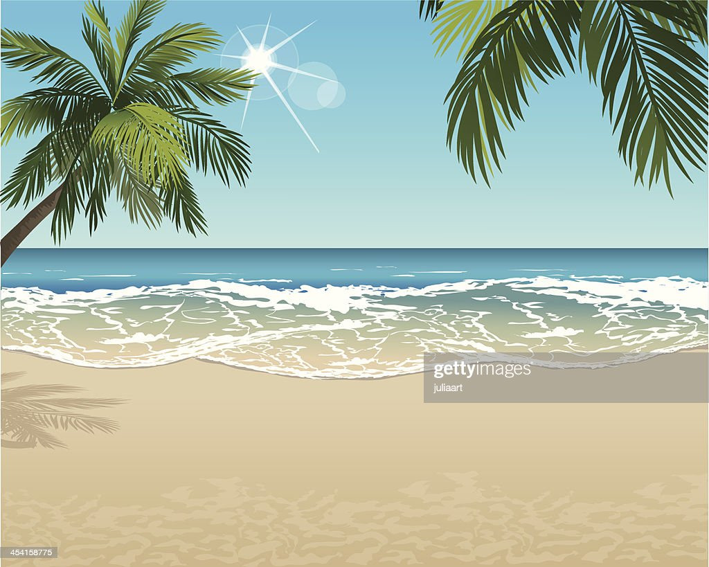 Vector tropical beach with copy space