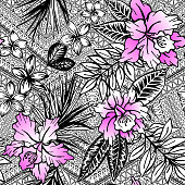 Vector tropical. black and white tropical flowers, with neon gradient petals, on aztec background.