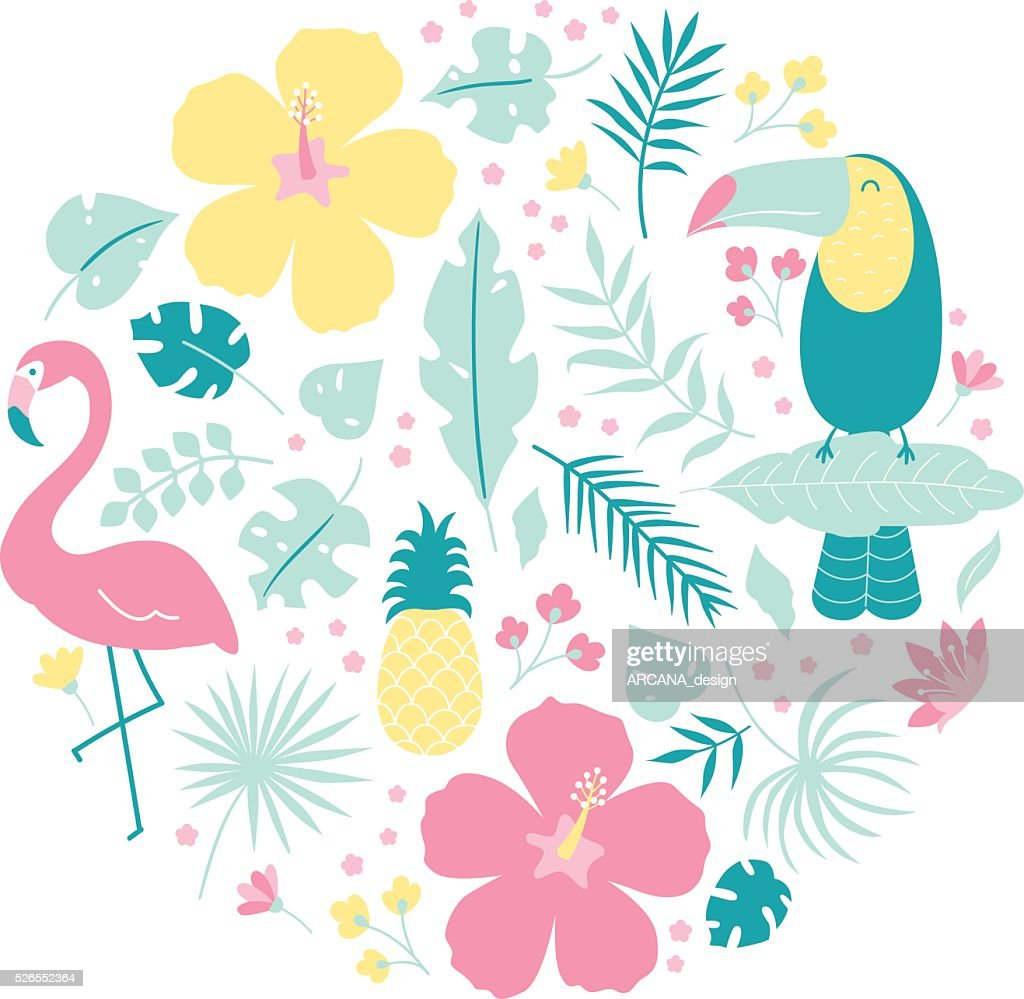Vector tropical clip art set isolated on white background
