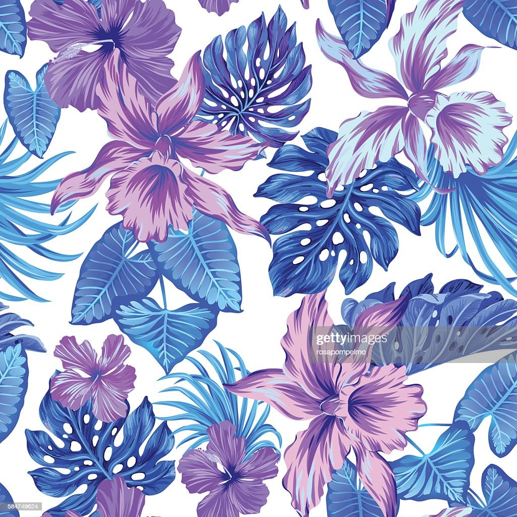 vector tropical pattern with orchids.