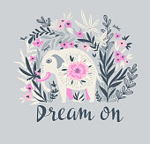 Vector tropical print for t-shirt with elephant in the jungle. Trendy animal design in boho style with lettering - Dream on.