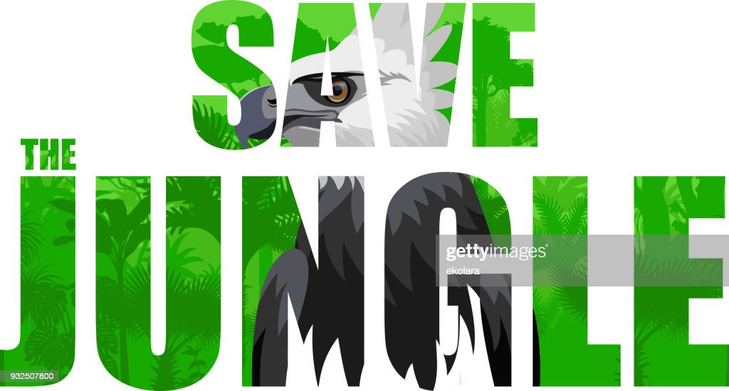 Vector tropical rainforest illustration with harpy eagle (Save the jungle)