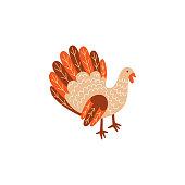 Vector turkey bird flat illustration isolated