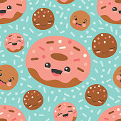 Vector Turquoise Happy Donuts Seamless Pattern Background