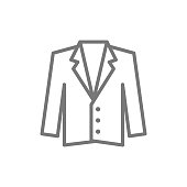 Vector tuxedo, jacket, coat line icon.