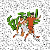 Vector two football soccers fighting for football ball. Vintage sportsmans motion on background of inscription and black white seamless pattern with different players. Outline flat illustration