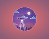 Vector UFO illustration. Flying saucer cartoon concept design.
