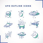 Vector UFO or Alien Icons Set Outline Style . Premium Space