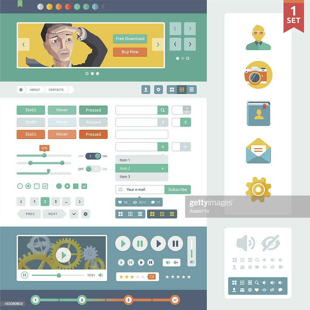 Vector UI elements for web and mobile.