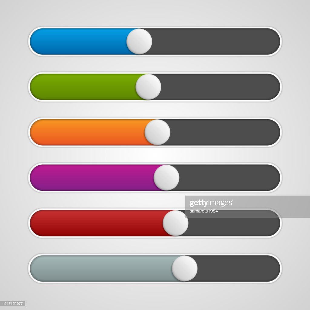 Vector UI sliders colors set. Volume controls. Interface elements.