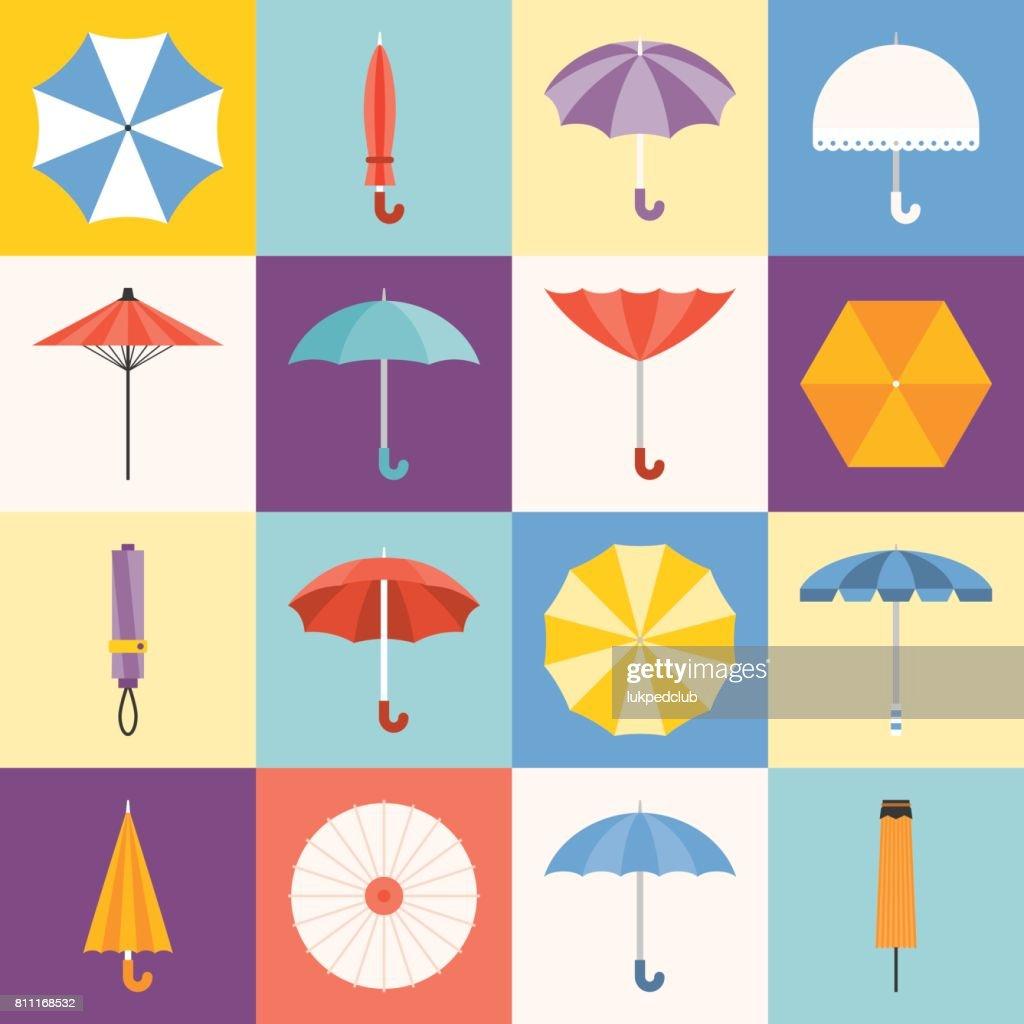 Vector umbrella icons collection