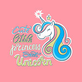 Vector unicorn, little princess, sweet, cute. Print design for T-shirts.