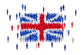 Vector United Kingdom state flag formed by crowd of cartoon people
