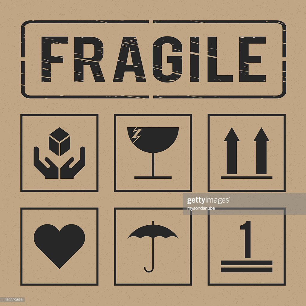 vector universal fragile signs collection