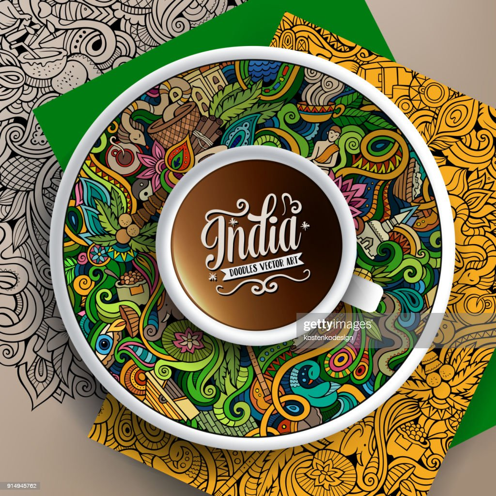 Vector up of coffee and India doodles on a saucer, paper and background