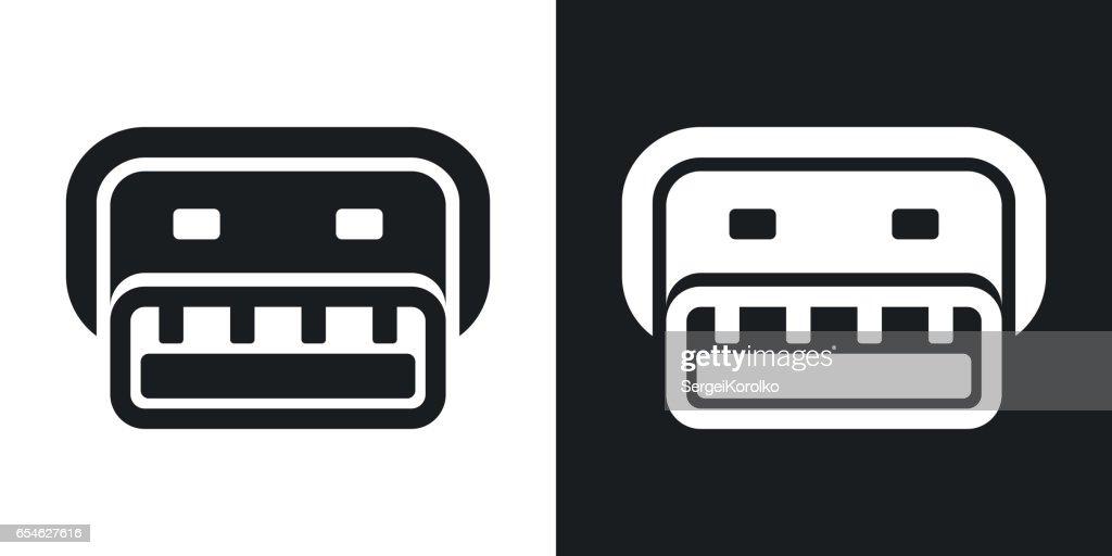 Vector usb connector icon. Two-tone version
