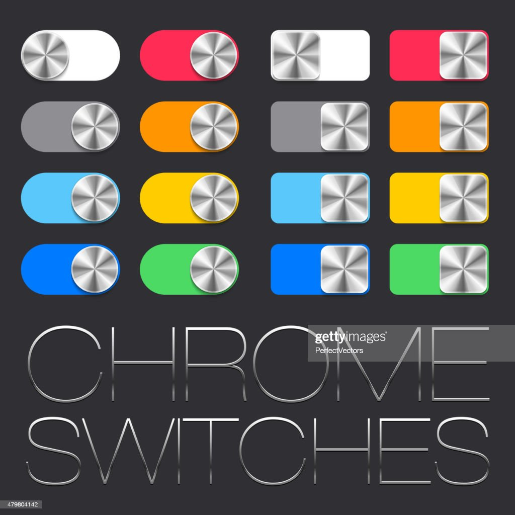 Vector User Interface Set including chrome switches