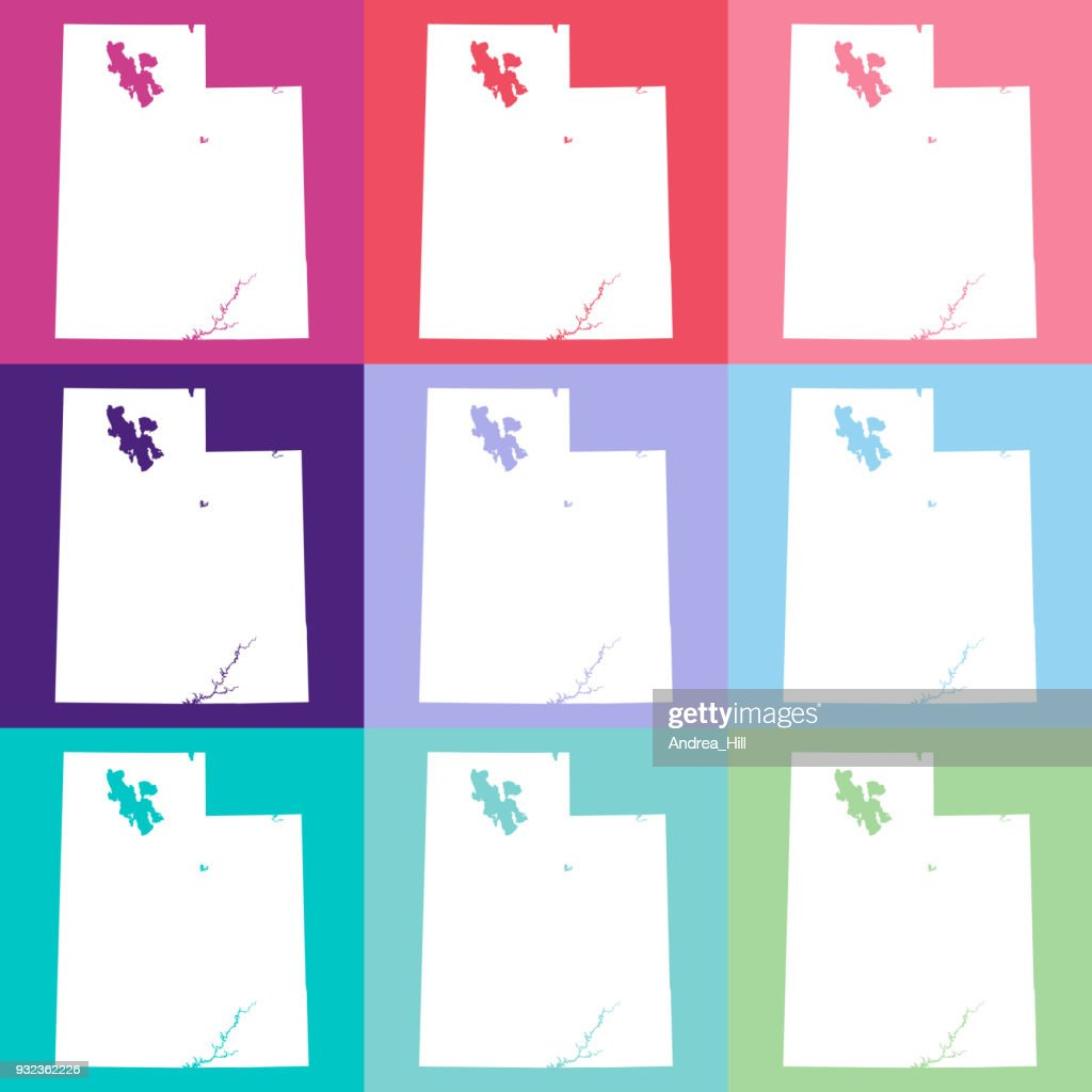 Vector Utah Usa Map In Cool Colors Vector Art | Getty Images