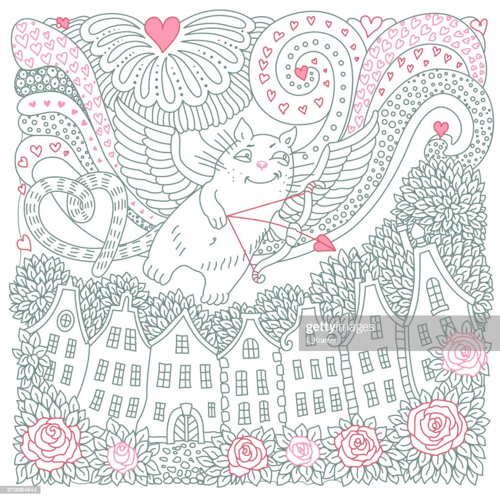 Vector Valentine Day card. Flying Cupid cat, hearts, rose flower, house silhouette. Adults and children coloring book square page. Hand drawn contour thin line. Black and white sketch. T-shirt print. Batik