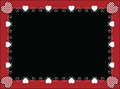 Vector Valentine Frame or Tag With Gingham Hearts