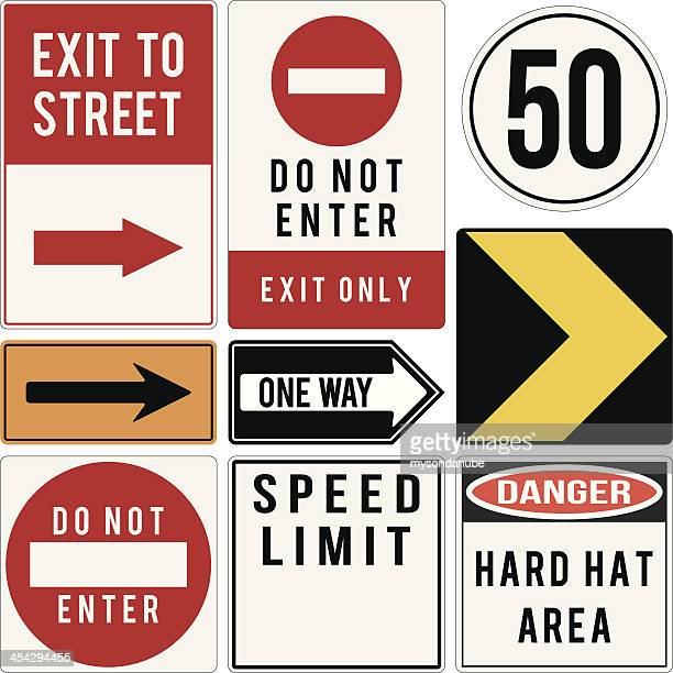 vector various road and warning signs - exit sign stock illustrations