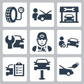Vector vehicle service station icons set