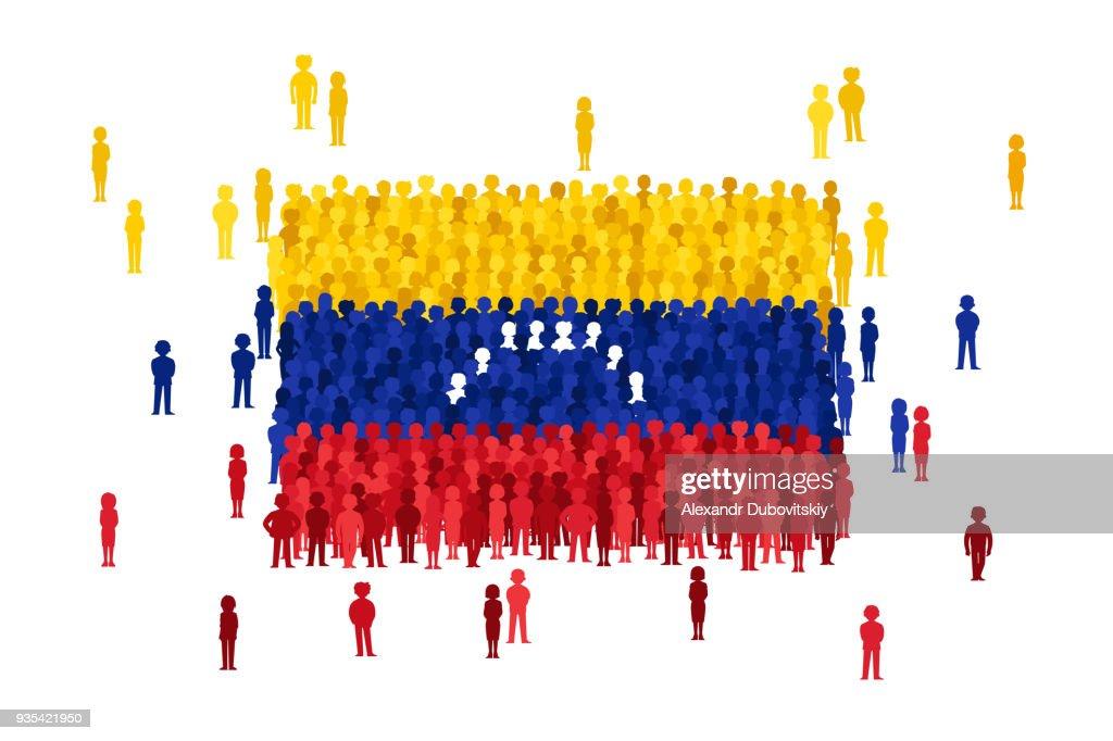 Vector Venezuela state flag formed by crowd of cartoon people