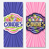 Vector vertical banners for Candies