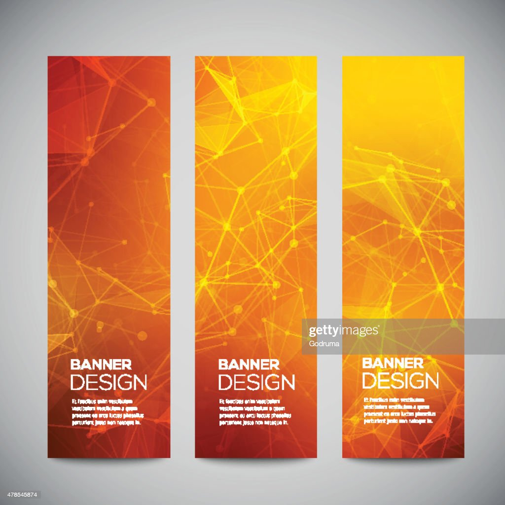 Vector vertical banners set with polygonal abstract shapes, with circles