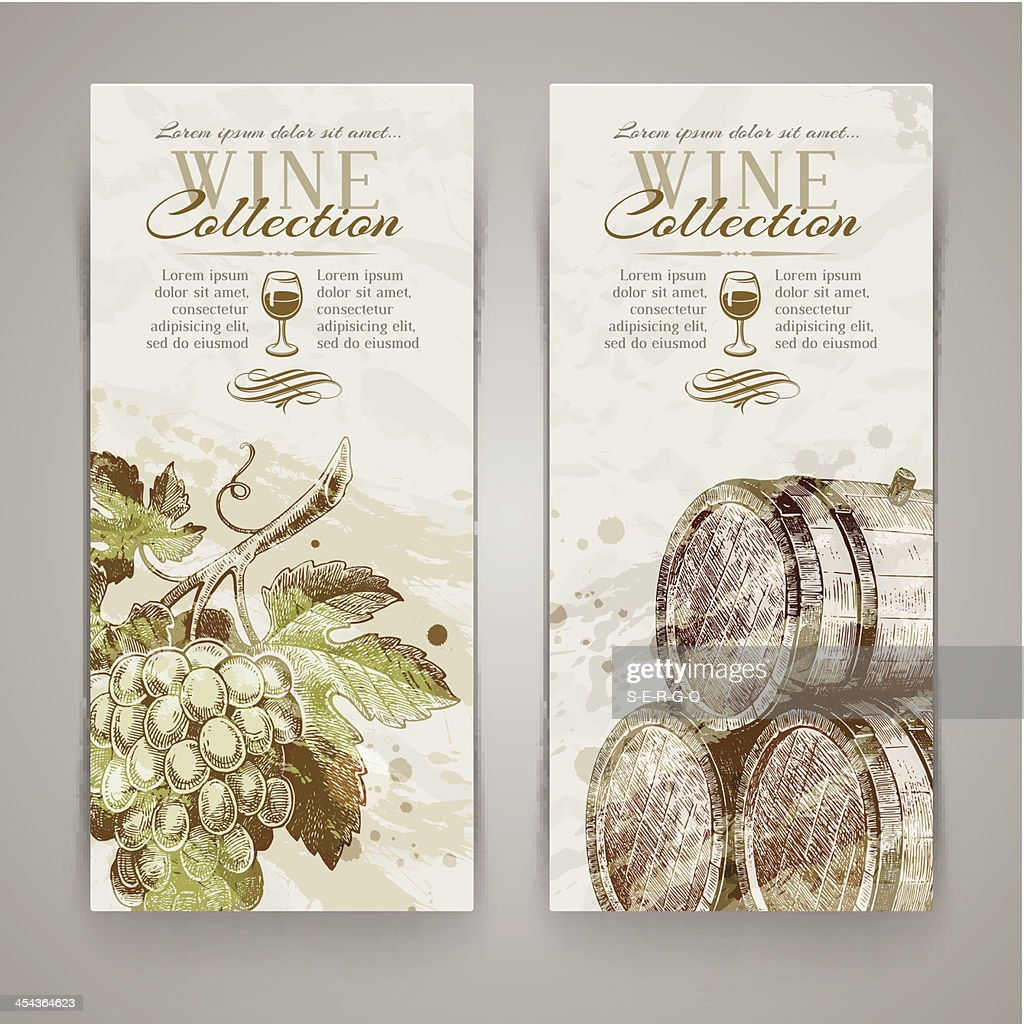Vector vertical banners with grapes and casks