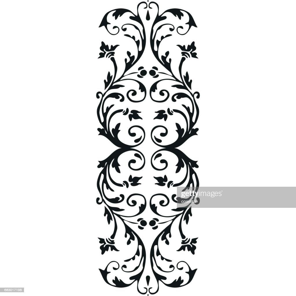 Vector vertical border curled floral element on white background for design