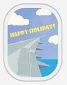 Vector. View from the airplane window. Greeting Card: Happy Holi
