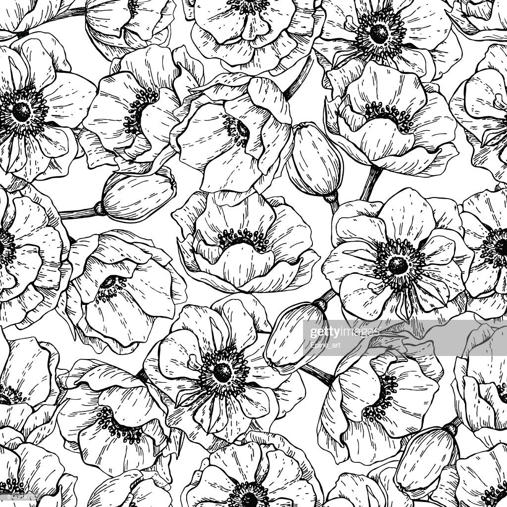 Vector vintage anemone seamless pattern. Hand drawn illustration