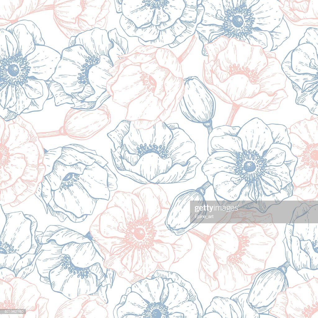Vector vintage anemone seamless pattern in trendy colors 2016. R