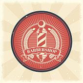 Vector vintage badge, sticker, sign with barber shop pole
