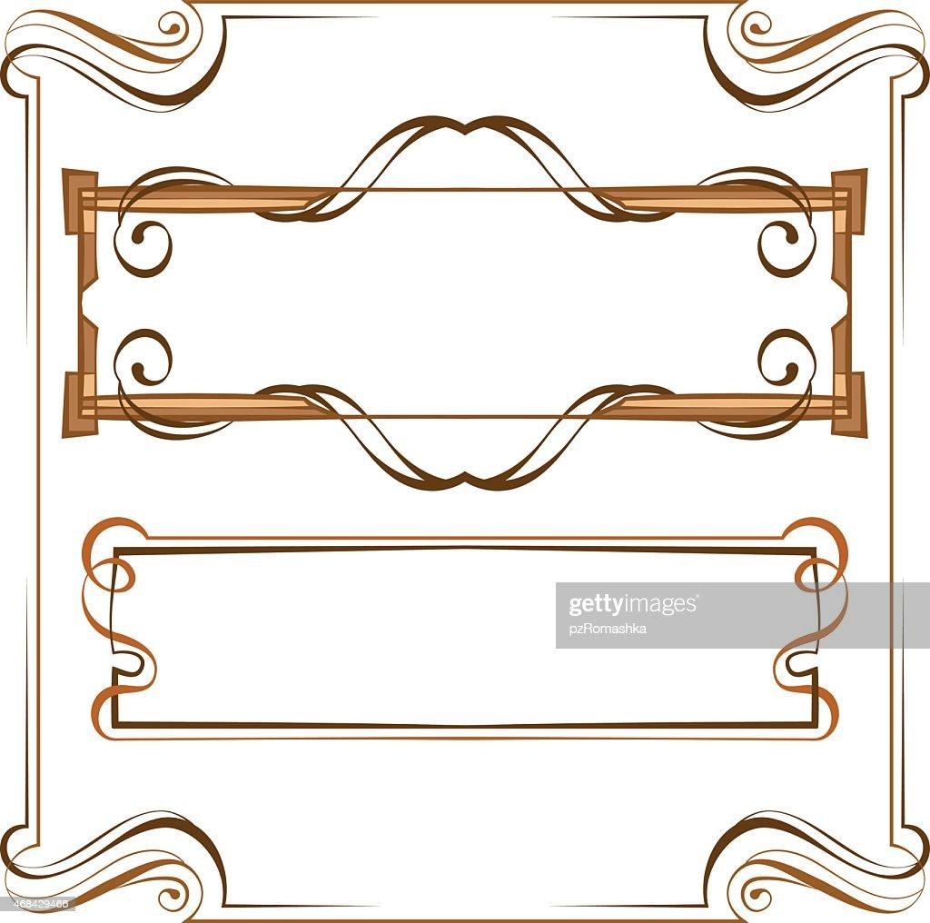 Vector. Vintage beautiful elegant frame. Set of elements for des