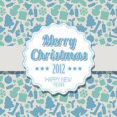 Vector Vintage blue Christmas label